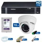 Kit 16 Câmeras de Segurança Dome HD 720p Intelbras VMD 1010G3 + HD para Gravação 1TB + DVR Intelbras Multi HD + Acessórios