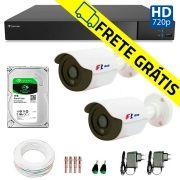 Kit 2 Câmeras de Segurança Bullet HD 720p Focusbras + DVR Flex Tecvoz + HD para Gravação 1TB + Acessórios