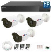 Kit 3 Câmeras de Segurança Bullet HD 720p Focusbras  + DVR Flex Tecvoz + Acessórios