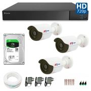 Kit 3 Câmeras de Segurança Bullet HD 720p Focusbras + DVR Flex Tecvoz + HD para Gravação 1TB + Acessórios