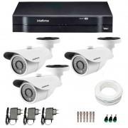 Kit 3 Câmeras de Segurança HD 720p Intelbras VM 3120 IR G4 + DVR Intelbras Multi HD + Acessórios