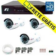 Kit 3 Câmeras de Segurança Full HD 1080p  Focusbras FS-MDF2M + DVR Focusbras Full HD + Acessórios