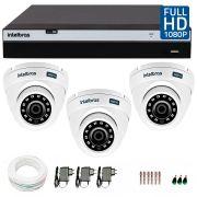 Kit 3 Câmeras de Segurança Full HD 1080p VHD 3220D G3 + DVR Intelbras Full HD + Acessórios