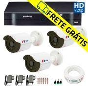 Kit 3 Câmeras de Segurança HD 720p Focusbras + DVR Intelbras Multi HD + Acessórios