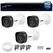 Kit 3 Câmeras de Segurança HB Tech HD 720p + DVR Luxvision All HD 5 em 1 ECD + Acessórios