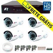 Kit 4 Câmeras de Segurança Full HD 1080p  Focusbras FS-MDF2M + DVR Focusbras Full HD + Acessórios