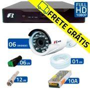 Kit 6 Câmeras de Segurança Full HD 1080p  Focusbras FS-MDF2M + DVR Focusbras Full HD + Acessórios