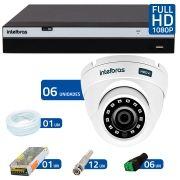 Kit 6 Câmeras de Segurança Full HD 1080p VHD 3220D G3 + DVR Intelbras Full HD + Acessórios