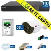 Kit 8 Câmeras de Segurança Bullet HD 720p Focusbras + DVR Flex Tecvoz + HD para Gravação 1TB + Acessórios