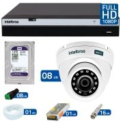 Kit 8 Câmeras de Segurança Full HD 1080p VHD 3220D G3 + DVR Intelbras Full HD + HD para Gravação + Acessórios