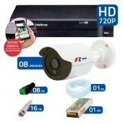 Kit 8 Câmeras de Segurança HD 720p Focusbras + DVR Intelbras Multi HD + Acessórios
