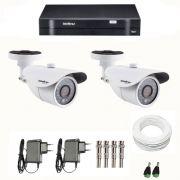 Kit CFTV 2 Câmeras Infra 720p Intelbras VM 3120 IR G3 + DVR Intelbras Multi HD + Acessórios