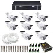 Kit de Câmeras de Segurança - DVR Intelbras 8 Ch G2 Tribrido HDCVI + 8 Câmeras Infra VM 3120 960H + Acessórios