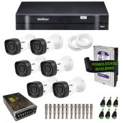 Kit de Câmeras de Segurança - DVR Intelbras 8 Ch G2 Tríbrido HDCVI + 6 Câmeras Infra VHD 1120B G2 HD 720p + HD WD Purple 1TB + Acessórios