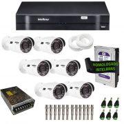 Kit de Câmeras de Segurança - DVR Intelbras 8 Ch G2 Tríbrido HDCVI + 6 Câmeras Infra VHD 3120B G2 HD 720p + HD WD Purple 1TB + Acessórios