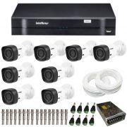 Kit de Câmeras de Segurança - DVR Intelbras 8 Ch G2 Tríbrido HDCVI + 8 Câmeras Infra VHD 1120B G2 HD 720p + Acessórios