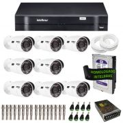 Kit de Câmeras de Segurança - DVR Intelbras 8 Ch G2 Tríbrido HDCVI + 8 Câmeras Infra VHD 3120B G2 HD 720p + HD WD Purple 1TB + Acessórios