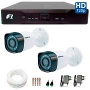 Kit 02 Câmeras de Segurança Bullet HD 720p Intelbras VHD 1120B G3 + DVR Focusbras + Acessórios