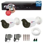 Kit CFTV 02 Câmeras Bullet Infra HD 720p FBR + DVR FBR + Acessórios