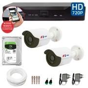 Kit CFTV 02 Câmeras Bullet Infra HD 720p FBR + DVR FBR + HD para Gravação 1TB + Acessórios