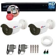 Kit 02 Câmeras de Segurança Bullet HD 720p Focusbras + DVR Luxvision All HD + Acessórios