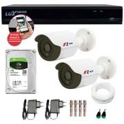 Kit CFTV 02 Câmeras Bullet Infra HD 720p FBR + DVR Luxvision All HD + HD para Gravação 1TB + Acessórios