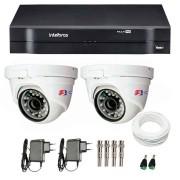Kit CFTV 02 Câmeras Dome Infra HD 720p + DVR Intelbras Multi HD + Acessórios