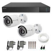 Kit CFTV 02 Câmeras Infra Full HD 1080p Tecvoz + DVR Tecvoz Flex Full HD + Acessórios