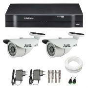 Kit CFTV 02 Câmeras Infra HD 720p Tudo Forte 30Mts + DVR Intelbras Multi HD + Acessórios