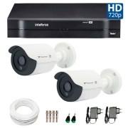 Kit CFTV 02 Câmeras Infra Tecvoz HD 720p QCB-128P + DVR  Intelbras Multi HD + Acessórios