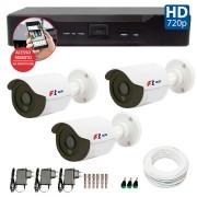 Kit CFTV 03 Câmeras Bullet Infra HD 720p FBR + DVR FBR + Acessórios