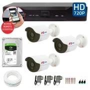 Kit CFTV 03 Câmeras Bullet Infra HD 720p FBR + DVR FBR + HD para Gravação 1TB + Acessórios