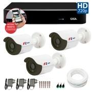 Kit CFTV 03 Câmeras Bullet Infra HD 720p FBR + DVR Giga Security + Acessórios