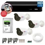 Kit CFTV 03 Câmeras Bullet Infra HD 720p FBR + DVR Giga Security + HD para Gravação + Acessórios