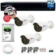 Kit CFTV 03 Câmeras Bullet Infra HD 720p FBR + DVR Luxvision All HD + HD para Gravação 1TB + Acessórios