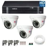Kit CFTV 03 Câmeras Dome Infra HD 720p FBR + DVR Intelbras Multi HD + Acessórios