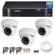 Kit CFTV 03 Câmeras Dome Infra HD 720p Intelbras VMD 1010G3 + DVR Intelbras Multi HD + Acessórios