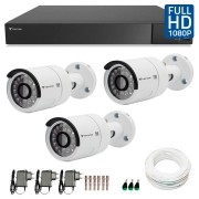 Kit 03 Câmeras de Segurança Full HD 1080p Tecvoz QCB-236 + DVR Tecvoz Flex Full HD + Acessórios