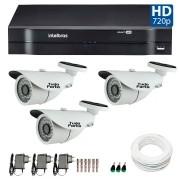 Kit CFTV 03 Câmeras Infra HD 720p Tudo Forte 30Mts + DVR Intelbras Multi HD + Acessórios