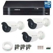 Kit CFTV 03 Câmeras Infra Tecvoz HD 720p QCB-128P + DVR  Intelbras Multi HD + Acessórios