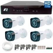 Kit 04 Câmeras de Segurança Bullet HD 720p Intelbras VHD 1010B G3 + DVR Focusbras + Acessórios