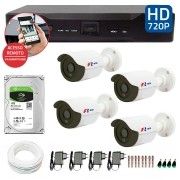Kit CFTV 04 Câmeras Bullet Infra HD 720p FBR + DVR FBR + HD para Gravação 1TB + Acessórios