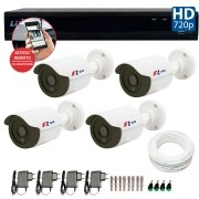 Kit CFTV 04 Câmeras Bullet Infra HD 720p FBR + DVR Luxvision All HD + Acessórios