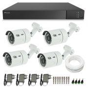Kit CFTV 04 Câmeras Infra Full HD 1080p TVZ Tecvoz + DVR Tecvoz Flex Full HD + Acessórios