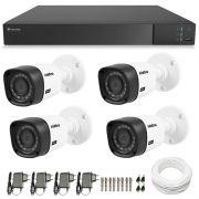 Kit CFTV 04 Câmeras Infra Full HD 1080p Intelbras VHD 1220 + DVR Tecvoz Flex Full HD + Acessórios