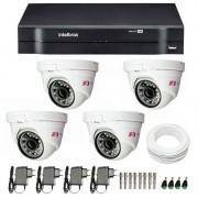 Kit CFTV 04 Câmeras Dome Infra HD 720p FBR + DVR Intelbras Multi HD + Acessórios