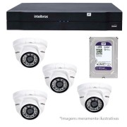 Kit CFTV IP 04 Câmeras Dome Infra IP HD 720p Intelbras VIP 1120 D + NVR, HVR Intelbras NVD + HD 1TB
