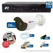 Kit CFTV 06 Câmeras Bullet Infra HD 720p FBR + DVR FBR + Acessórios