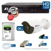 Kit CFTV 06 Câmeras Bullet Infra HD 720p FBR + DVR FBR + HD para Gravação 1TB + Acessórios