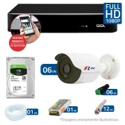 Kit CFTV 06 Câmeras Bullet Infra HD 720p FBR + DVR Giga Security + HD para Gravação + Acessórios